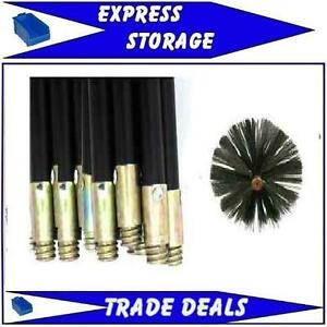 New Flue Cleaning Brush Sweep Sweeping Set Kit Drain Rods
