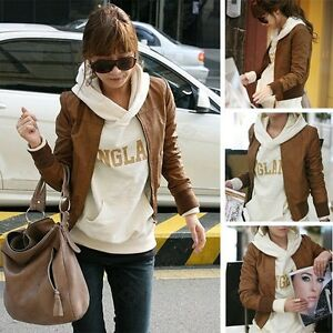 Ladies-Korean-Fashion-Faux-Leather-Zip-Up-Short-Coat-Jacket-Brown-Black