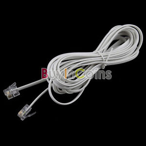 10FT-3M-RJ11-6P4C-Telephone-Phone-ADSL-Modem-Line-Cord-Cable-4-Pin-2-BAAU