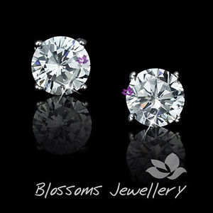 9K 9ct White GOLD GF 8mm Stud Earrings Genuine SWAROVSKI Diamond  ES411