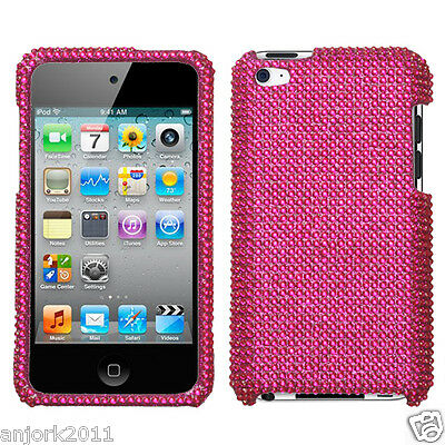 Apple Ipod Touch 4 Snap-on Diamond Case Cover Accessory Solid Hot Pink