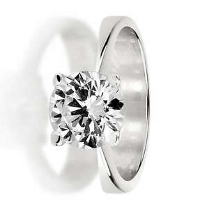 1 CT ROUND BRILLIANT DIAMOND SOLITAIRE RING 18K WHITE GOLD