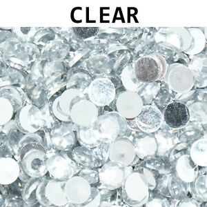 1000 Crystal Flat Back Acrylic Rhinestones Gems 1mm , 2mm , 3mm , 4mm ,5mm , NEW