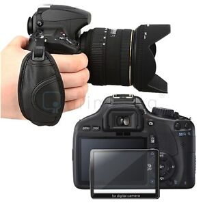 LCD Glass Screen Protector+Hand Waist Strap for Canon EOS 550D Digital Rebel T2i