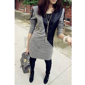 Black-Grey-Long-Sleeve-PU-Leather-Cotton-Autumn-Casual-Slim-Mini-Dress