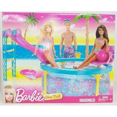 Barbie Glam Pool With Pool Slide Blue With Pink Yellow Purple Stars
