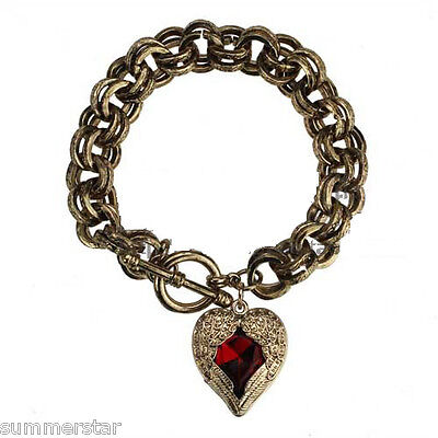Plumage Red Heart Retro Gold Bracelet