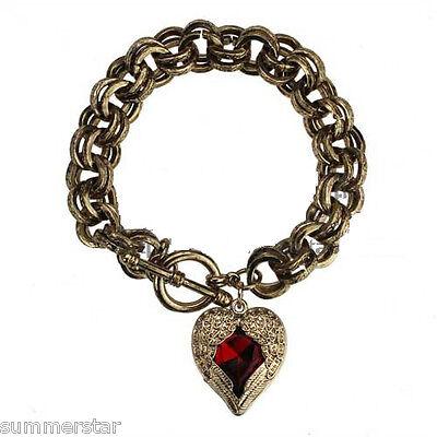 Plumage Red Heart Retro Gold Bracelet