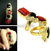 One Finger Palace Faux Gem Fashion Joint Knuckle Double Ring