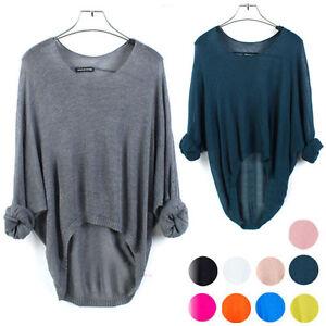 New-Batwing-Womens-Ladies-Casual-Loose-Asymmetric-Knit-Coat-Top-Cardigan-Sweater