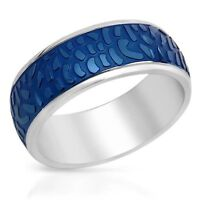 NEW TWO TONE STAINLESS STEEL RING ( PRIMARILY A MID-DARK BLUE )