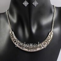 Vintage Style Curve Pattern Pendant Silvery Chain Set
