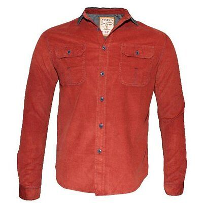 New Soulstar Men's Slim Fit Cord Shirt Retro Vintage Top S M L XL Tan Black Rust