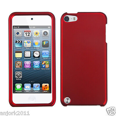 Apple Ipod Touch 5 Snap-on Cover Hard Case Phone Accessory Titanium Red