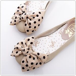 BN-Satin-Polka-Dots-Bowed-Ladies-Wedding-Ballet-Flats-Shoes-Beige-Ivory-Black