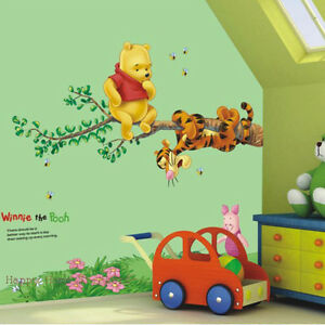 Adesivi-Murali-Winnie-Pooh-E-Tigro-Rimovibili-Decorazione-Parete-Cameretta