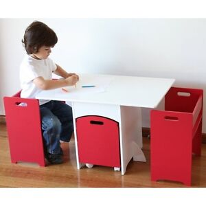 New Kids Childrens Toddler Red Wooden Table and Chair Chairs Set Toy Box Storage