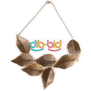 Nueva-Moda-Retro-Metal-De-Bronce-patron-de-hojas-de-Gargantilla-Babero-Collar-Collar-Eb