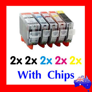 10x INK CARTRIDGES FOR CANON MP540 MP550 MP560 MP630 MP640 MX870 + (With Chips)