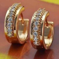 Flawless Zircon 9K Real Gold Filled Huggies Hoop Earrings 17mm