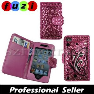 Butterfly-Diamond-Bling-Rhinestone-Wallet-Case-Cover-For-Apple-iPod-Touch-4-4G