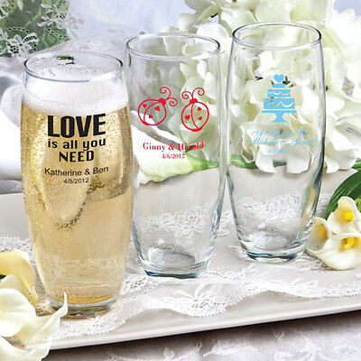 100 Personalized Stemless Wine Glasses Wedding Party Shower Event Favors Lot