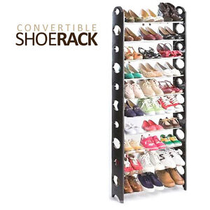 NEW! CONVERTIBLE SHOE RACK WITH ZIPPERED COVER - 30 PAIR SHOES ORGANIZER/DISPLAY