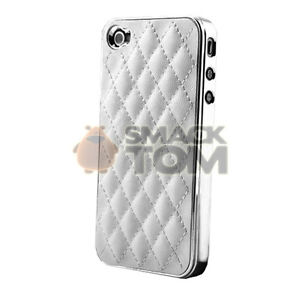 For iphone 4 4 g 4s luxury chrome deluxe leather hard back cover case