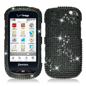 Black-Diamond-Bling-Hard-Case-Cover-for-Verizon-Pantech-Hotshot-8992-Accessory
