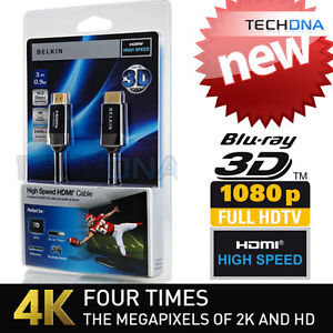 Belkin 0.9m High Speed 3D v1.4 HDMI Cable HD-TV 1080p PS3 Xbox Gold Lead 1.4 1m
