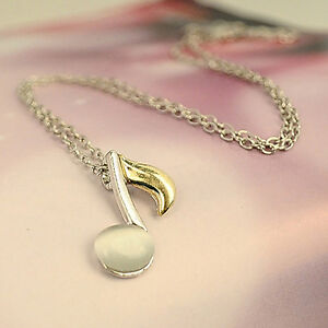 Gorgeous Beautiful Silver SP Music Note Pendant Girls Necklace Chain