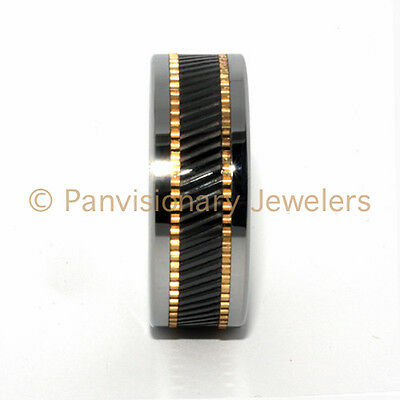 10mm Copper & Black Ceramic Inlay Notched Tungsten Carbid...