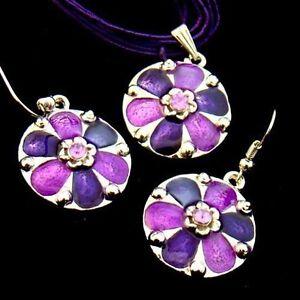 Fashion Diamante Lovely Flower Jewelry Necklace Pendant Earrings