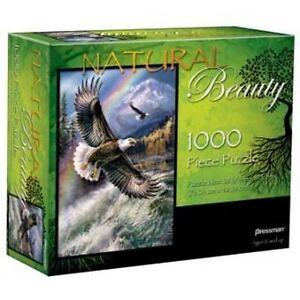 Puzzle-Natural-Beauty-BALD-EAGLES-1000-Piece-Jigsaw-Mountain-Rainbow-Lake