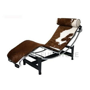 Le corbusier replica chaise lounge brown white genuine cow for Chaise lounge cowhide