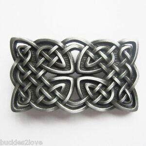3D Celtic Knot belt Buckle Irish dark pewter color detalied