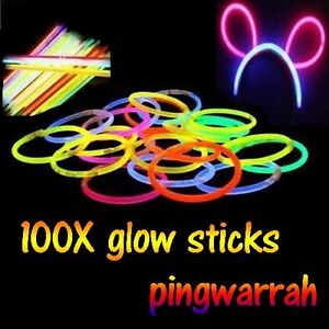 100 Multi Color Glow Stick Light Bracelets Disco Party