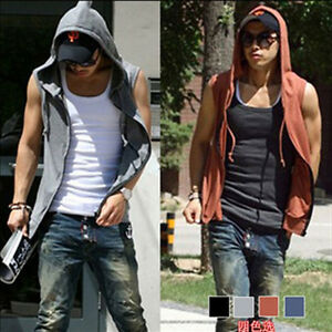 Mens-Beach-sport-Casual-Slim-Fit-Hoody-sleeveless-T-shirt-Vest-Tops-H722-4color