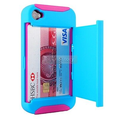 Blue/Pink Credit Card Hard Shell Stand Combo Case Cover For iPhone 4 4S 32A on Rummage