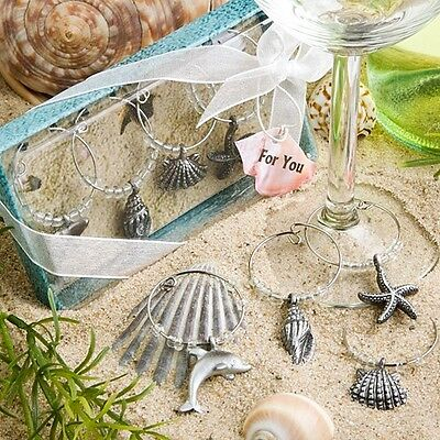 Unique Beach Design Wine Charms Favor Wedding Bridal Shower Gift Reception - Beach Favors