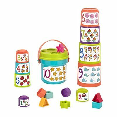Battat  Sort  Stack Nesting Cups  Educational Stacking Cups with Numbers and
