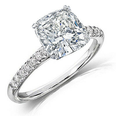 1.75 Ct Cushion Cut Diamond Engagement Ring with Round Cut Accents H,VS1 GIA 18K
