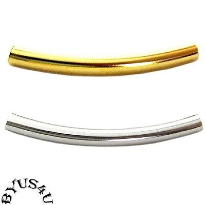 TUBE CURVED BEADS SMOOTH 28x3mm choice of Gold or Silver Plated 2mm hole -