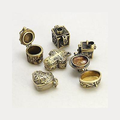 Wholesale Lot 12 Mixed Antiqued Gold Tone Prayer Poison Pill Box Pendants Charms