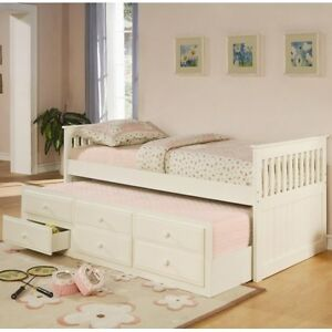 Free Delivery in EDM-Twin Captain's Bed with Trundle and Storage