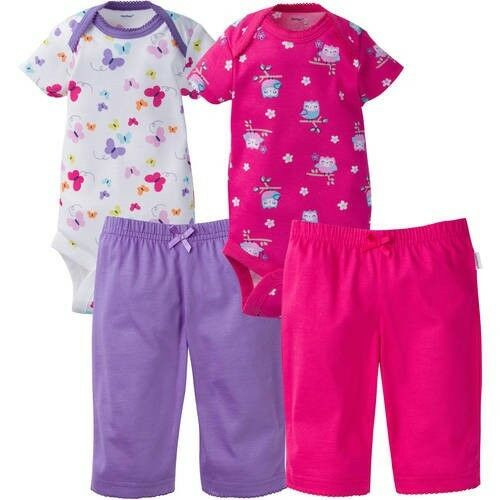 Gerber Baby Girls 4 Piece Layette Set NEW Various Sizes Owl,