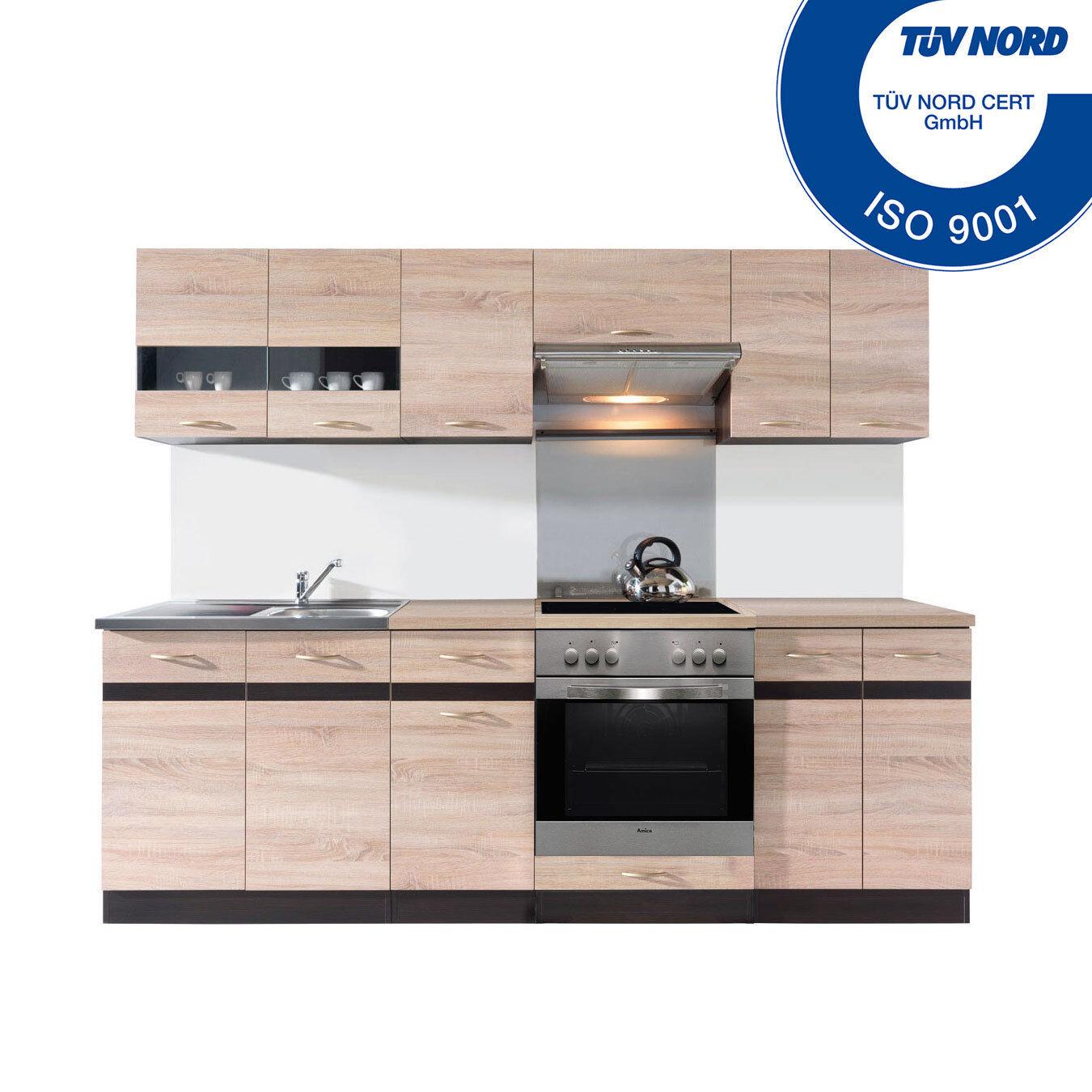 Einbauküche mit Elektrogeräten Herd Spülbecken Küchenzeile Küche AB LAGER Eiche