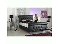 KingSize Mattress and Velvet or Leather Diamanté Sleigh Bed with Mattress