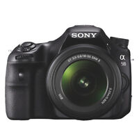 sony a58 camera, with strap, charger and camera bag