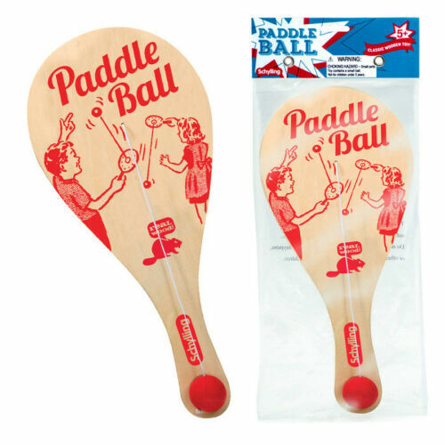 """Paddle Ball Game Wooden w/ Rubber Ball & Catch Hole Classic Retro Toy 11"""" Wood"""